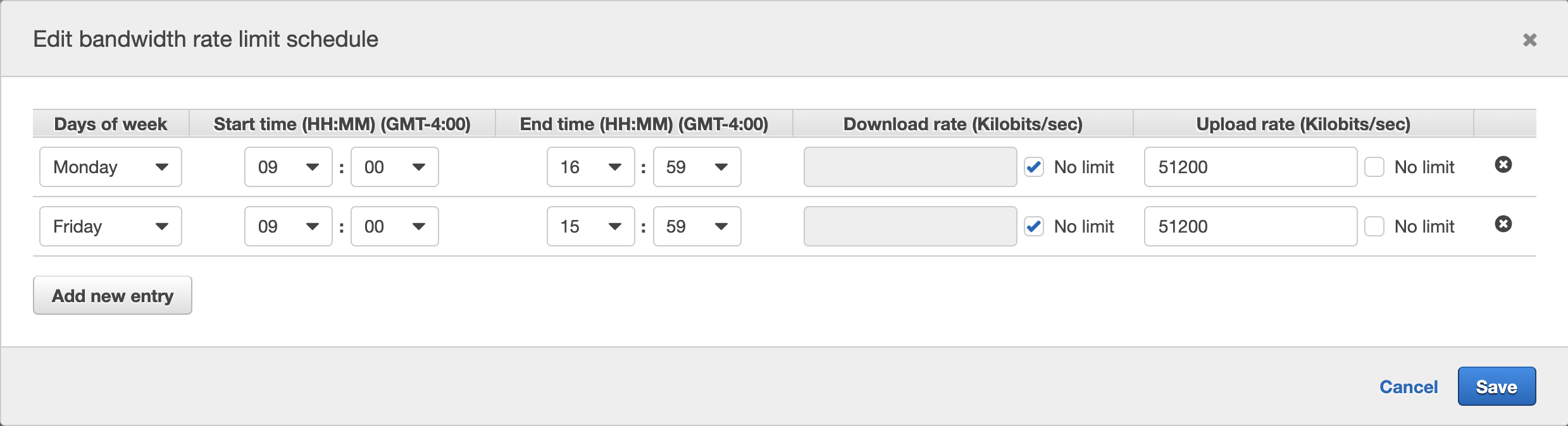 You can easily configure the schedule-based network bandwidth throttling based on your timing, download rate, and upload rate values