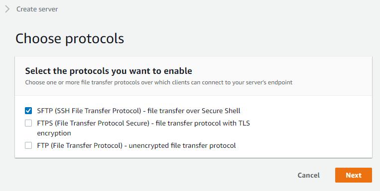 Choosing SFTP as your server protocol