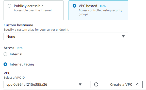 Configuring your endpoint for a VPC hostd endpoint,