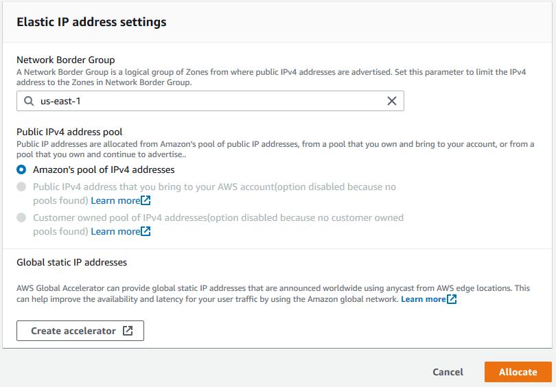 Elastic IP address settings