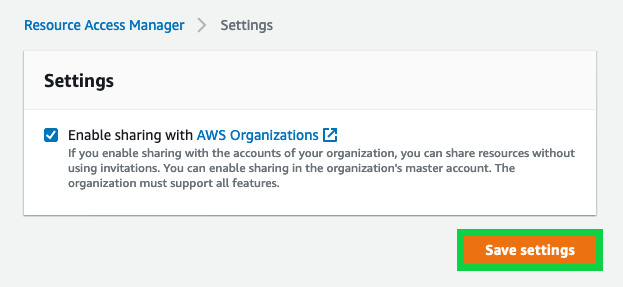Enable sharing for your organization in the management account for your AWS Organizations