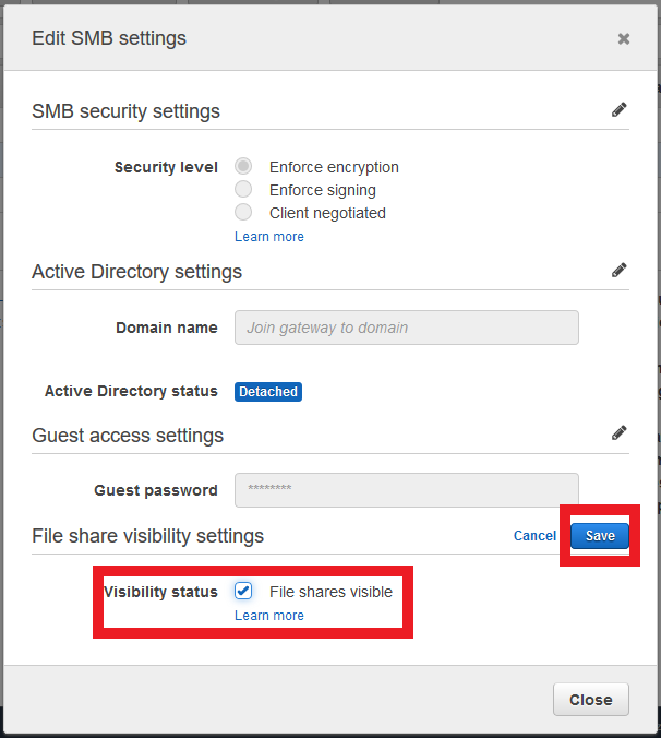 Enabling FSV in the File Gateway configuration applies to all SMB file shares.