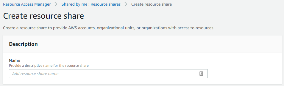 For Name, enter a name for your resource share.
