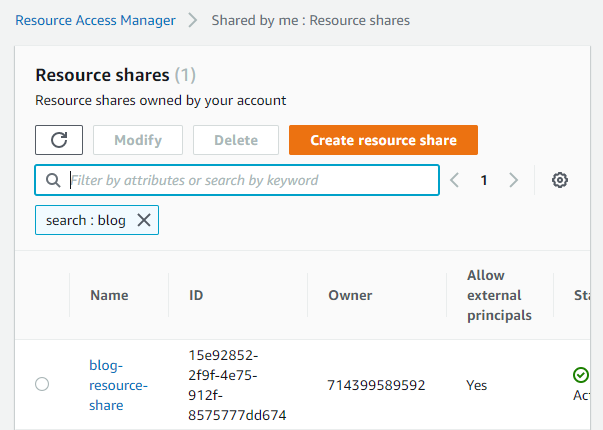 Once this is configured, select Create resource share to complete this step.