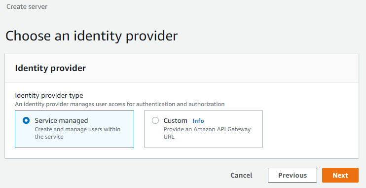 Then, for Identity provider type, select the radio button for Service managed, and select Next.