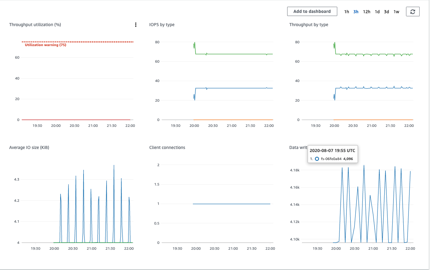 A look into the Amazon EFS file system metrics shows the write activity from the application.