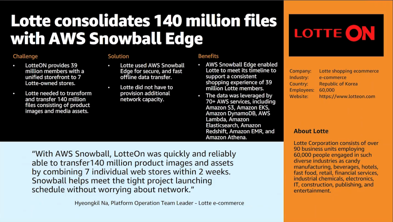 Lotte consolidated 140 million files with AWS Snowball Edge