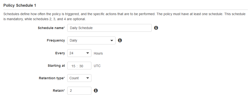 Define the Policy Schedule to create and share the Amazon EBS snapshots.