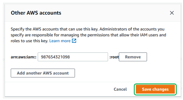 Enter all Account IDs that you want to share the CMK with. Choose Save changes when done.