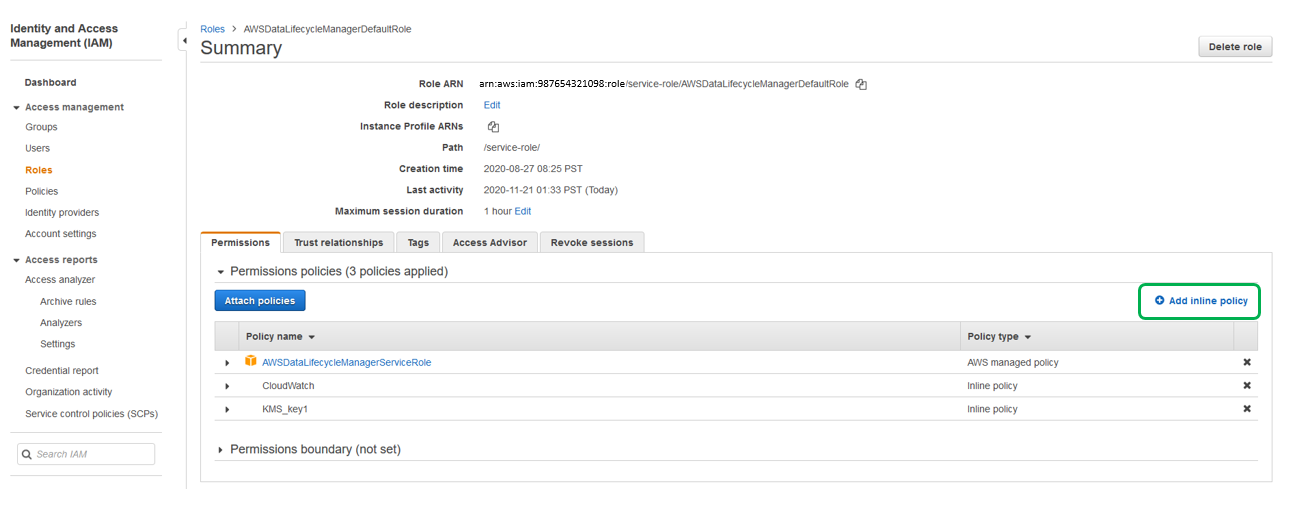 In the AWS IAM console page of the IAM role you have selected (from Step 4), click on Add inline policy.