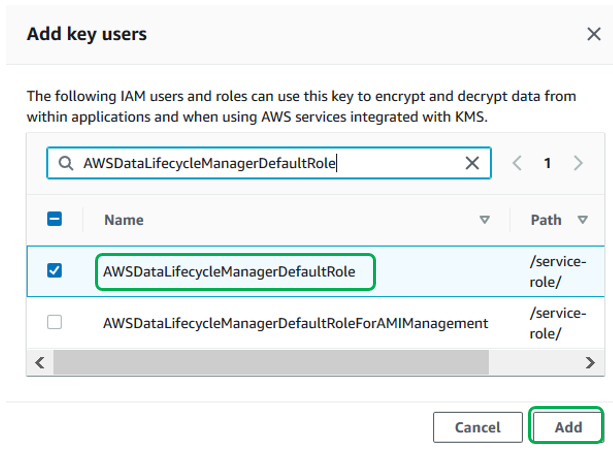 In the Add key users screen, select the IAM role from step 1 (in our example, we are using AWSDataLifecycleManagerDefaultRole).