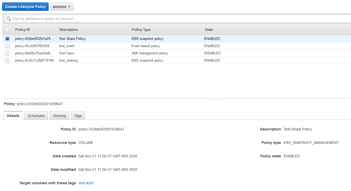 On the Amazon DLM main page, you can select the policy and see more details at the bottom of the screen.