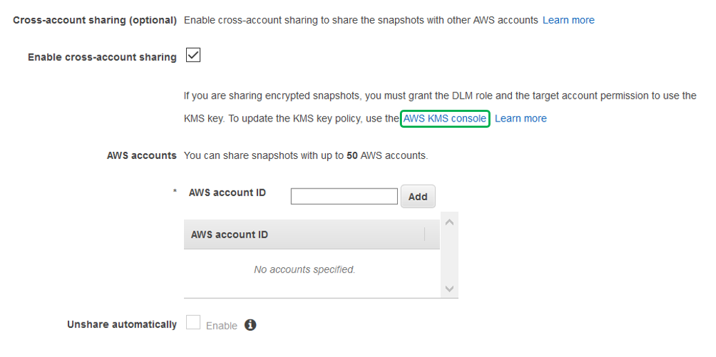 Select Enable cross-account sharing by checking the box next to it.