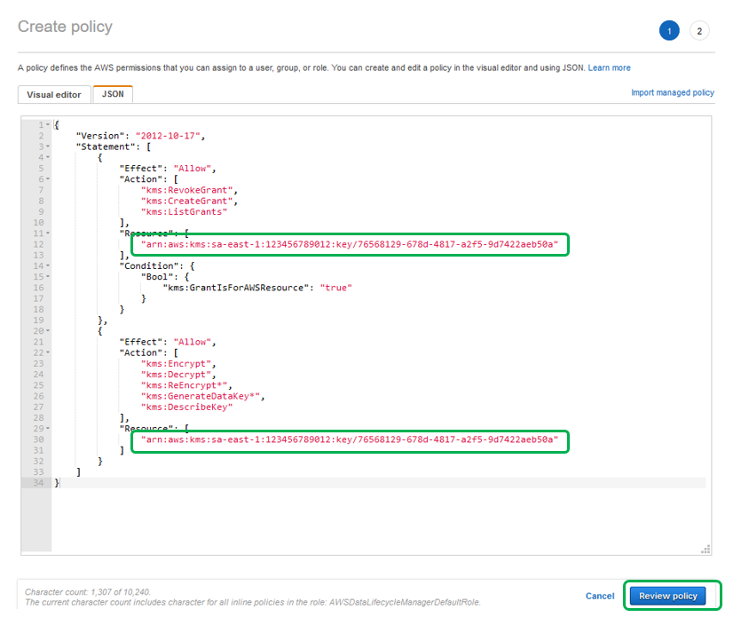 Visit the user guide and copy the contents of the corresponding JSON and paste it into the JSON editor.
