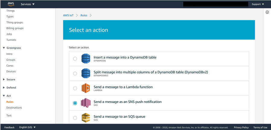 Click on Actions, where you are able to select from a number of different actions, select send an Amazon SNS message, radio button.