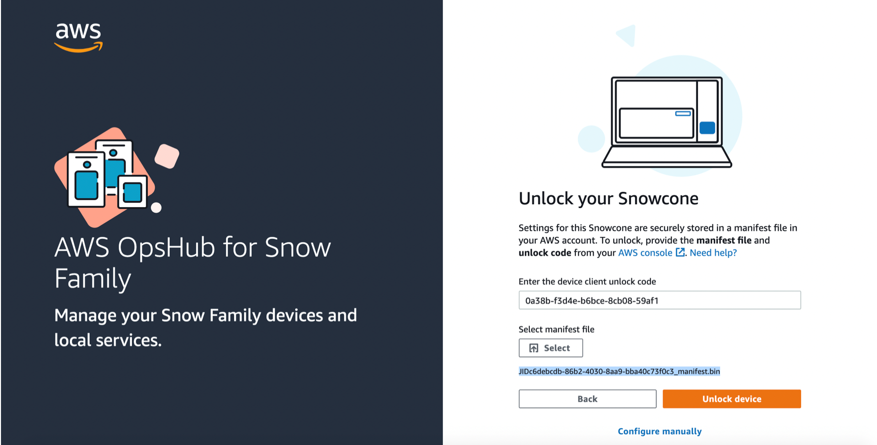 To unlock the Snowcone I open AWS OpsHub for Snow Family on my laptop, and choose the Snowcone option.