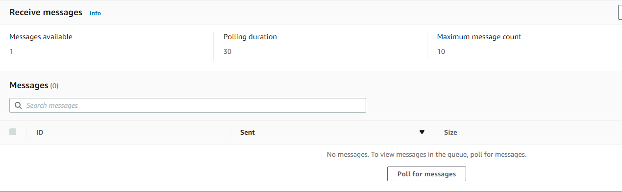 Send and recieve messages in the Amazon SQS console