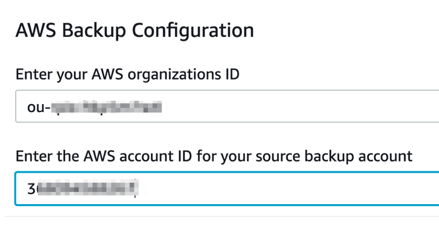 Enter your AWS Organizations ID and AWS account ID for SourceAccount