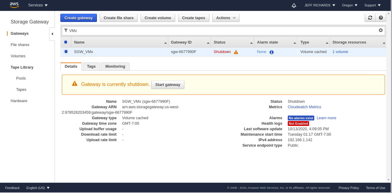 Once activation is complete, the Status of the AWS Storage Gateway service in the AWS Management Console switches from Offline to Shutdown.