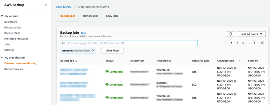 Within the management account, you can monitor backup, restore, and copy jobs across your AWS accounts