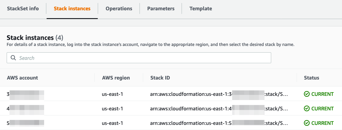 You can validate the stack sets deployment completion under the Stack Instances tab.