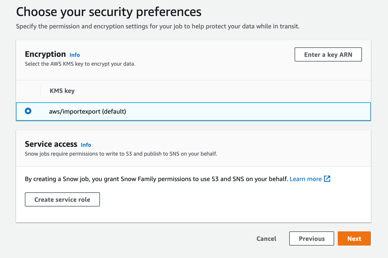 I choose the default AWS KMS key to encrypt my data and specify permissions using an IAM role by clicking Create service role