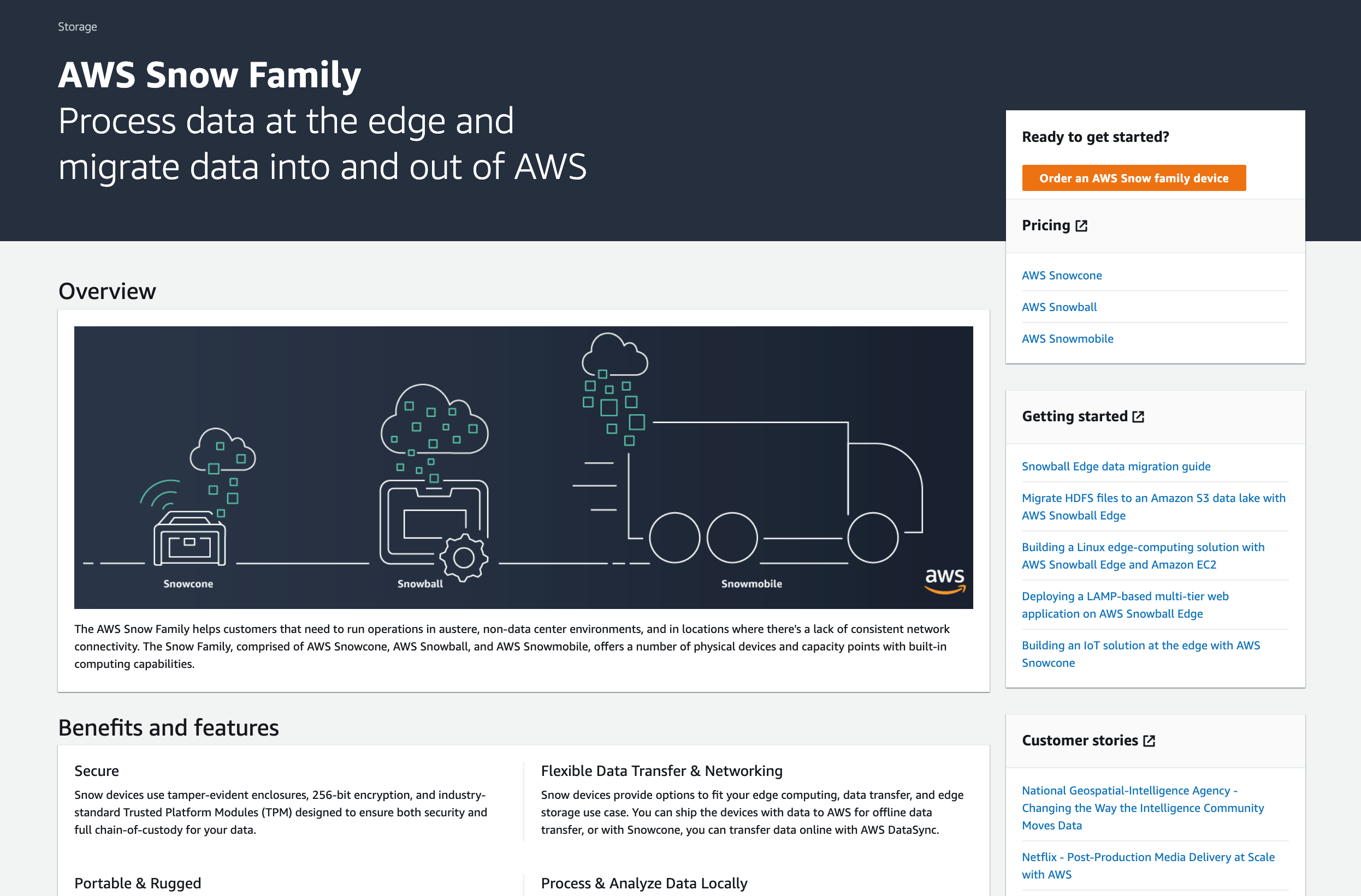 Updated AWS Snow Family console