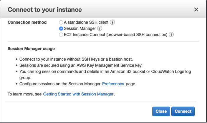 In the AWS Mgmt Console, get a browser-based shell.