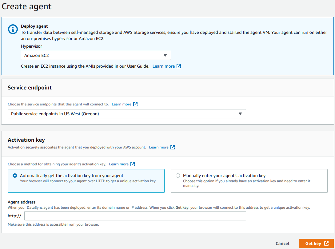 Figure 2 - Create the DataSync Agent object in destination account