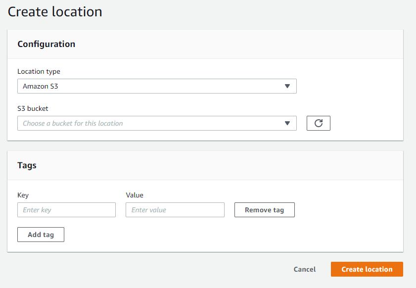 Figure 4 - Create the Amazon S3 location in the destination account