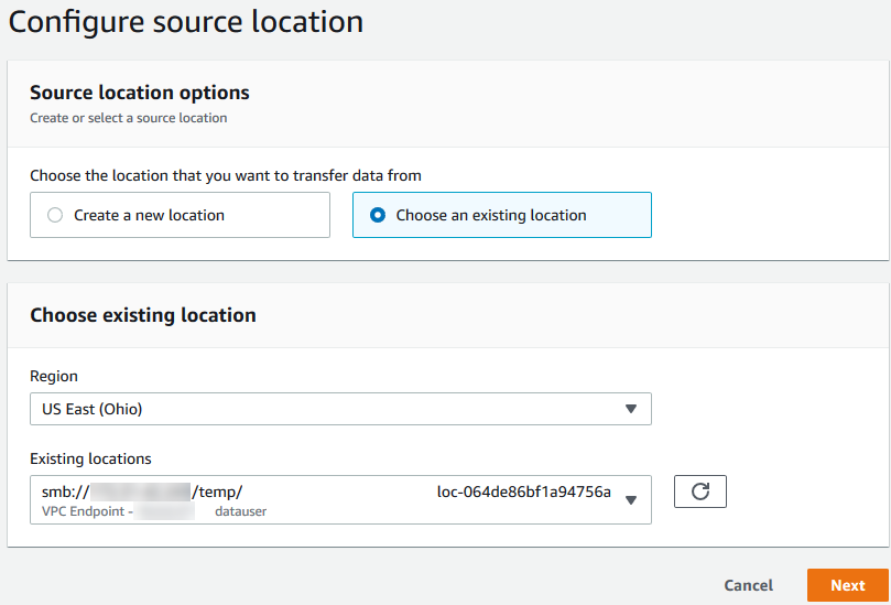 Figure 5 - Choose the source location in the task