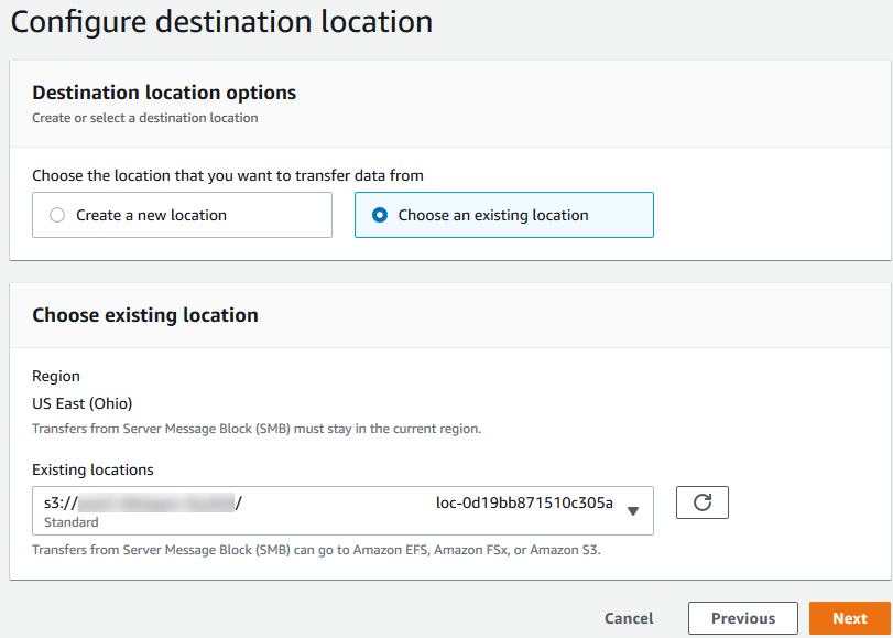 Figure 6 - Choose the destination location in the task