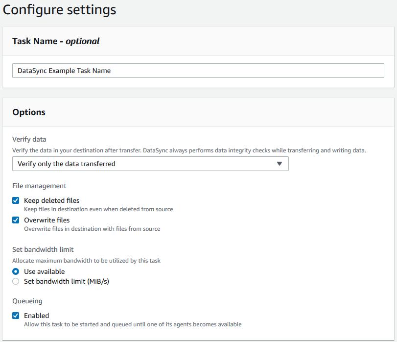 Figure 7 - Verify the task settings