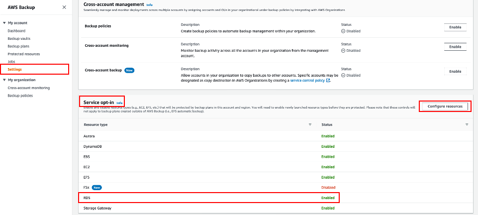 Enabling AWS Backup protection of Amazon RDS resources