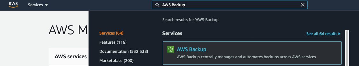 Navigating to the AWS Backup console in the AWS Management Console