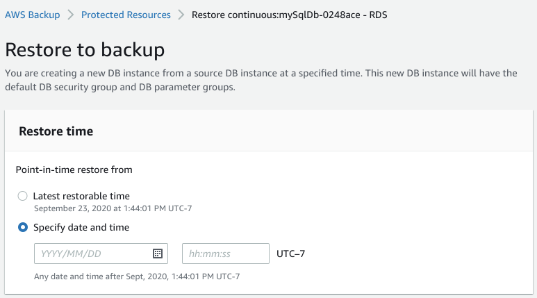 Recovering your Amazon RDS database within AWS Backup
