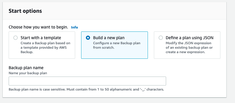 Start options when building a new backup plan