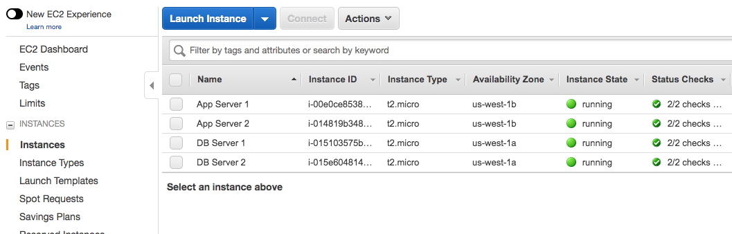 open the EC2 dashboard to see the running instances and perform any necessary validation of your launched applications