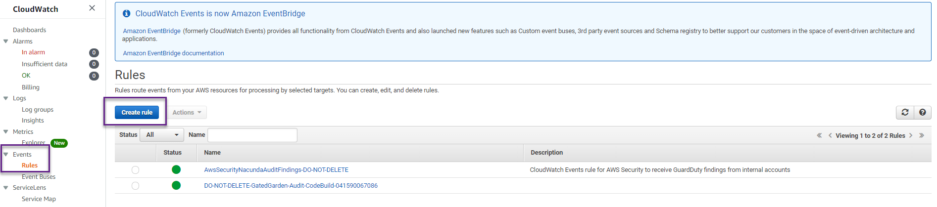 Configure a rule to consume the new state change events coming from AWS Backup.