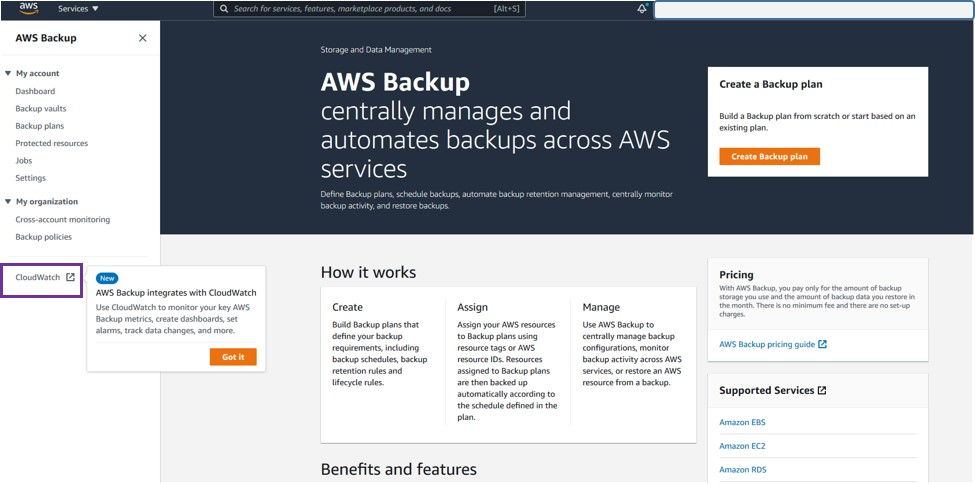 Open up the menu in the AWS Backup console, and select CloudWatch