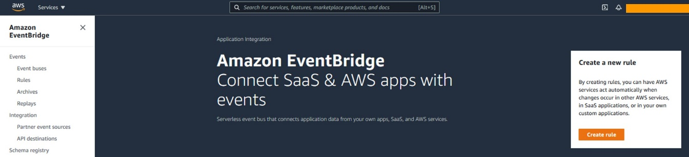 To send events to Amazon EventBridge go to the Amazon EventBridge console and select the Create rule button.