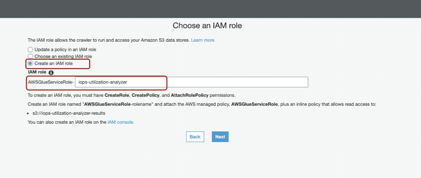 AWS Glue creates an IAM role that you can name when creating your database in the AWS Glue Data Catalog