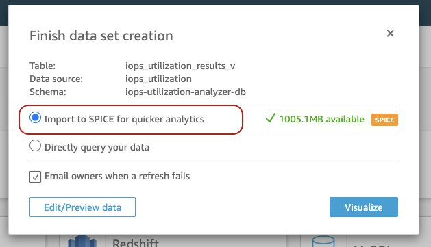 Import to SPICE (in-memory engine) or perform a direct query over the data. Click Visualize
