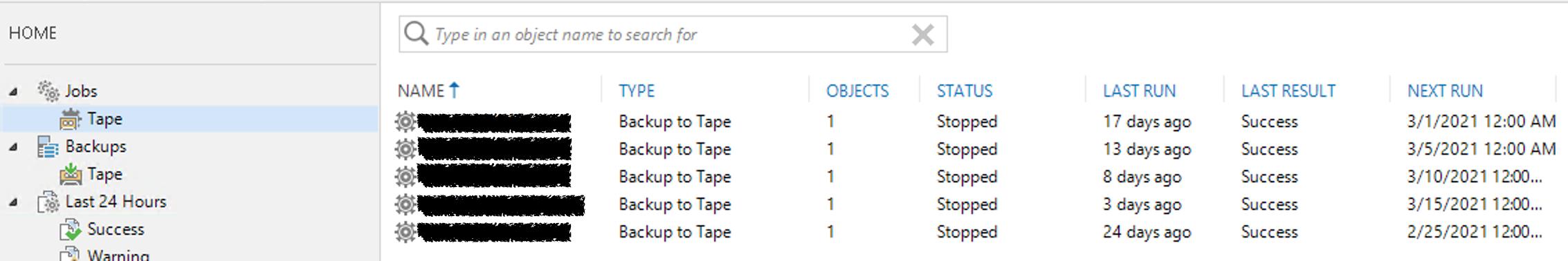 Tenant-to-Tape jobs inside of Veeam targeting AWS.
