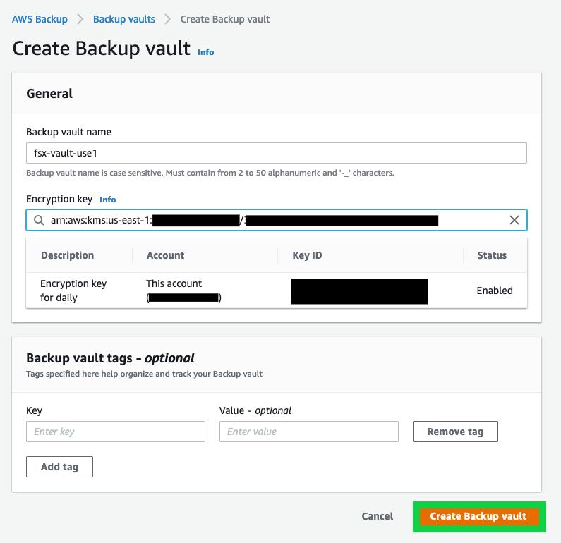 Creating an AWS Backup backup vault (2)