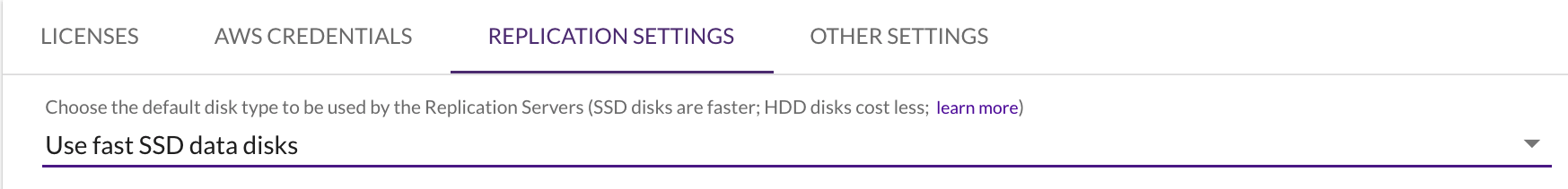 Within the project replication settings, the console notes the default as Use fast SSD data disks.