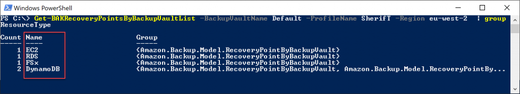 The Get-BAKBackupVaultList cmdlet has a parameter to list all recovery points based on the AWS resource type