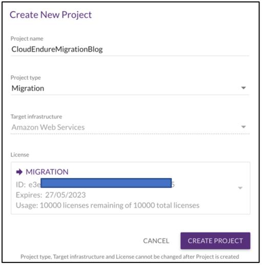 CloudEndure Migration - create a new migration project (1)