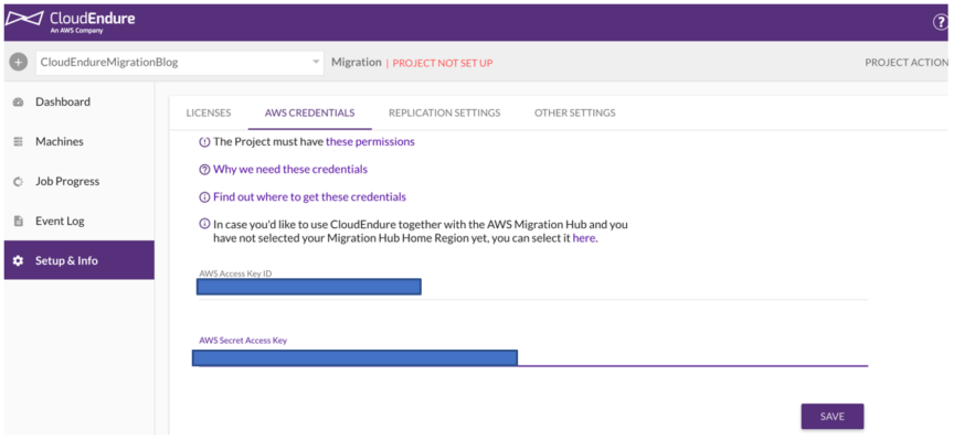 To set up the newly created project, navigate to the Setup & Info tab (1)
