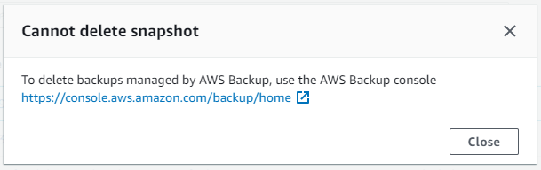AWS Backup provides an extra layer of security by preventing accidental deletion of recovery points (backups) from the corresponding service console
